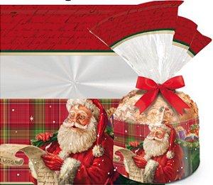 Saco para Panetone de 500g - Noite Mágica - Barrado - Cromus - Rizzo Embalagens e Festas