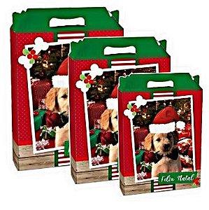 Caixa Maleta Retangular Cachorrinhos - Cromus Natal - Rizzo Embalagens