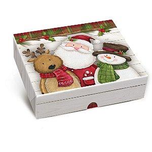 Caixa para Presente Tampa e Fundo - Turminha de Natal - Cromus - Rizzo Embalagens e Festas
