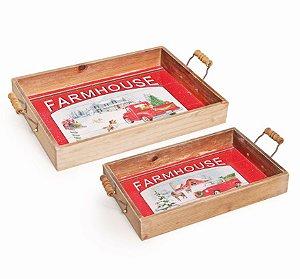Bandeja de Madeira Natal Farm House Conj c 2 unidades - Natal Cromus - Rizzo Embalagens e Festas