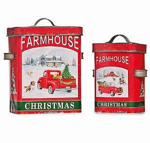 Lata de Metal Decorativa Natal Farm House c 2 unidades - Natal Cromus - Rizzo Embalagens e Festas