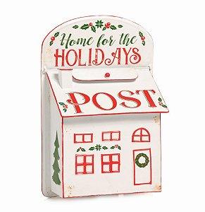 Caixa de Correio em Metal Natalina Home for the Holidays 40cm x 30cm x 15cm - Natal Cromus - Rizzo Embalagens