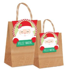 Sacola de Papel com Fechamento - Divertida Papai Noel - Cromus Natal - Rizzo Embalagens