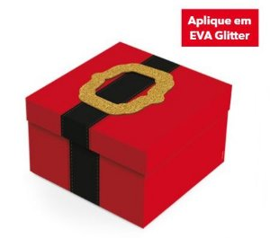 Caixa Presente  Quadrada com Aplique Roupa Noel - 01 unidade - Cromus Natal - Rizzo Embalagens