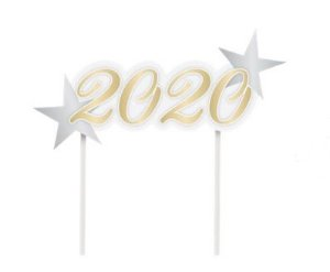 Topo de bolo Espeto 2020 Ano Novo - 01 unidade - Cromus Natal - Rizzo Embalagens