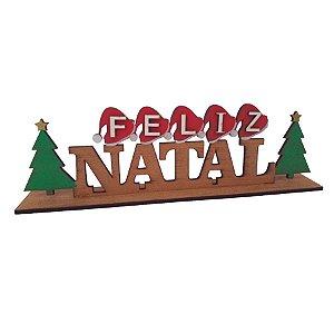 Enfeite de Mesa Feliz Natal MDF 30cm  - 01 unidade - Cromus Natal - Rizzo Embalagens