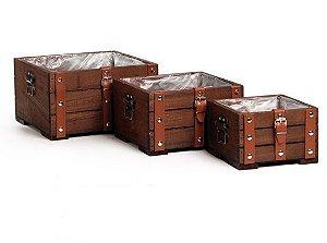 Kit Caixotes De Madeira Com Couro - 03 unidade - Cromus Natal - Rizzo Embalagens