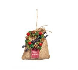 Enfeite Para Pendurar Saquinho Bege - 01 unidade - Cromus Natal - Rizzo Embalagens
