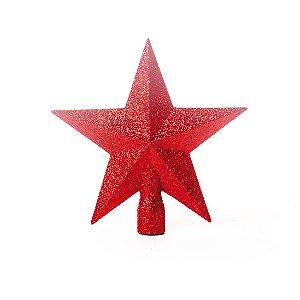 Ponteira Estrela Vermelha Com Glitter 15cm - 01 unidade - Cromus Natal - Rizzo Embalagens