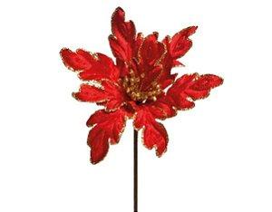 Flor Cabo Curto Vermelha com Ouro 25cm - 01 unidade - Cromus Natal - Rizzo Embalagens