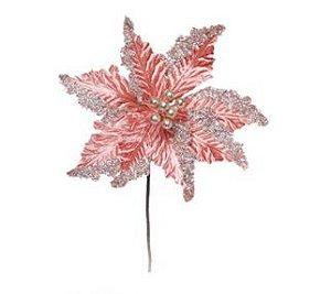 Flor Cabo Médio Poinsettia Rosa Claro com Glitter 44cm - 01 unidade - Cromus Natal - Rizzo Embalagens