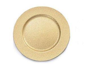 Sousplat Efeito Arabesco Ouro 33cm - 01 unidade - Cromus Natal - Rizzo Embalagens