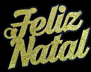 Tag de Decoração Feliz Natal Glitter Dourado Sonho Fino Rizzo Embalagens