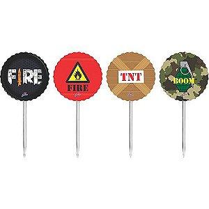 Toppers Decorativos - Festa Free Fire - 08 Unidades - Junco - Rizzo Festas
