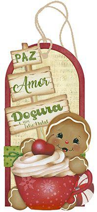 Tag de MDF Biscoito Natalino Gingerbread 14,6cm - 01 unidade - Litoarte - Rizzo Embalagens