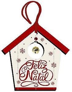 Tag de MDF Casinha Feliz Natal 12,5cm - 01 unidade - Litoarte - Rizzo Embalagens