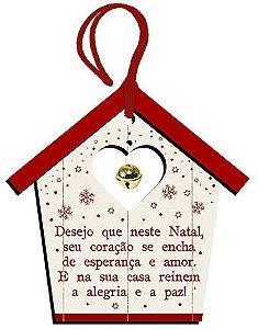 Tag de MDF Casinha Desejo Que Neste Natal 12,5cm - 01 unidade - Litoarte - Rizzo Embalagens