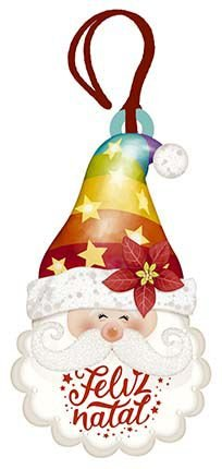 Tag de MDF Papai Noel com Toca Colorida Natal 8,6cm - 01 unidade - Litoarte - Rizzo Embalagens