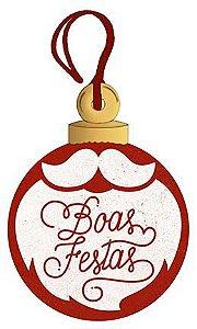 Tag de MDF Bola Boas Festas 8cm - 01 unidade - Litoarte - Rizzo Embalagens