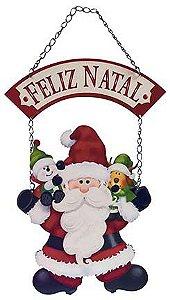 Plaquinha de MDF Papai Noel com Flâmula Feliz Natal 45,5cm - 01 unidade - Litoarte - Rizzo Embalagens