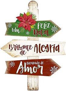 Plaquinha de MDF Um Feliz Natal 40cm - 01 unidade - Litoarte - Rizzo Embalagens