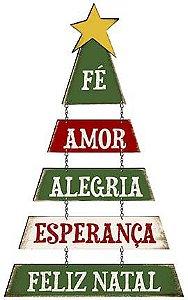 Plaquinha de MDF Árvore de Natal Fé Amor 57cm - 01 unidade - Litoarte - Rizzo Embalagens