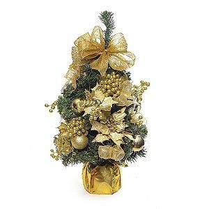 Mini Árvore Decorada Ouro 60cm - 01 unidade - Cromus Natal - Rizzo Embalagens