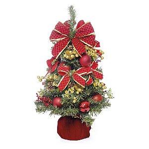 Mini Árvore Decorada Vermelho 60cm - 01 unidade - Cromus Natal - Rizzo Embalagens
