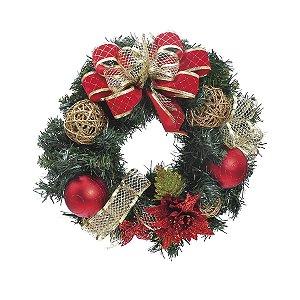 Guirlanda Decorada Vermelho e Ouro 40cm - 01 unidade - Cromus Natal - Rizzo Embalagens