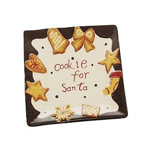 Prato Quadrado de Cerâmica Marrom e Marfim Cookies 20cm - 04 unidades - Cromus Natal - Rizzo Embalagens