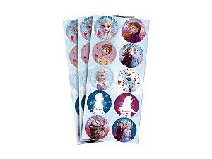 Adesivo Redondo para Lembrancinha Festa Frozen 2 - 30 unidades - Regina - Rizzo Festas
