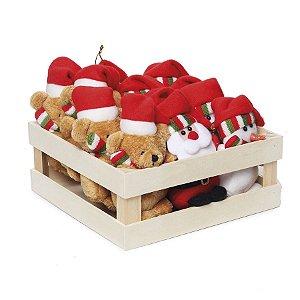 Mini Box com Noel Boneco de Neve  e Urso Vermelho Verde - 12 unidades - Cromus Natal - Rizzo Embalagens