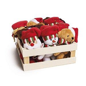 Mini Box com Urso Noel Boneco de Neve e Rena - 12 unidades - Cromus Natal - Rizzo Embalagens