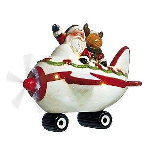Noel e Rena no Avião com Luz e Movimento 25cm - 01 unidade - Cromus Natal by  Cecília Dale - Rizzo Embalagens