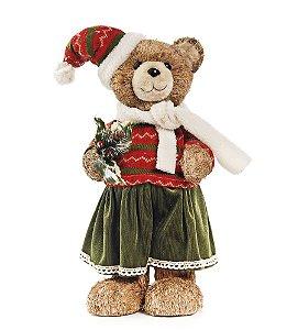Ursa Crespinha com Saia e Gorro 45cm - 01 unidade - Cromus Natal - Rizzo Embalagens