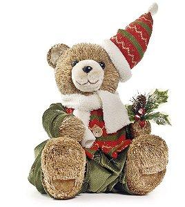 Urso Crespinha Sentado com Gorro 35cm - 01 unidade - Cromus Natal - Rizzo Embalagens