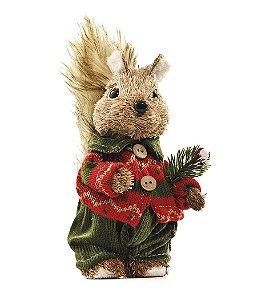 Esquilo Crespinho com Calça Verde 20cm - 01 unidade - Cromus Natal - Rizzo Embalagens