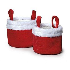 Jogo de Cestas Redondas Pelúcia Vermelha e Branca  - 02 unidades - Cromus Natal - Rizzo Embalagens