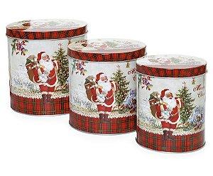Jogo de Latas Noel Xadrez Vermelho e Verde - 03 unidades - Cromus Natal - Rizzo Embalagens