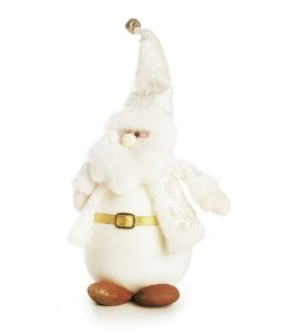 Noel em Pé com Roupa Branca 25cm - 01 unidade - Cromus Natal - Rizzo Embalagens