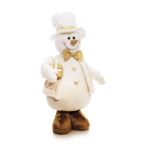 Boneco de Neve em Pé Gravata Borboleta 40cm - 01 unidade - Cromus Natal - Rizzo Embalagens
