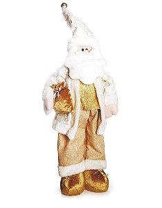 Noel em Pé Segurando Presente com Calça Ouro  80cm - 01 unidade - Cromus Natal - Rizzo Embalagens
