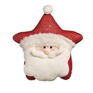 Almofada Estrela com Noel Vermelho 40cm - 01 unidade - Cromus Natal - Rizzo Embalagens
