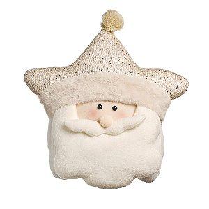Almofada Estrela com Noel Nude 40cm - 01 unidade - Cromus Natal - Rizzo Embalagens