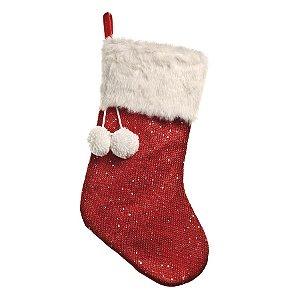 Enfeite Bota Pompom Vermelho 45cm - 01 unidade - Cromus Natal - Rizzo Embalagens