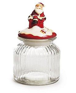 Pote de Vidro Canelado Tampa Noel Cerâmica 20cm - 04 unidades - Cromus Natal - Rizzo Embalagens