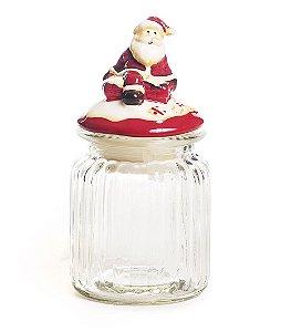 Pote de Vidro Canelado Tampa Noel Cerâmica 15cm - 04 unidades - Cromus Natal - Rizzo Embalagens