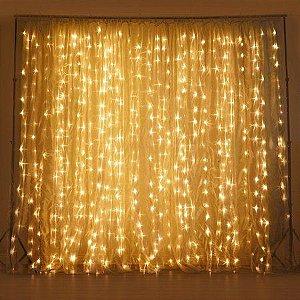 Cortina de Led Luz Branco Quente - 3,00m x 2,80m - 500 lâmpadas fixas - Natal Rizzo Embalagens