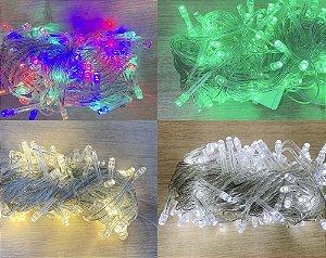Cordão Led Multifunções Fio Transparente 127V 10 metros - Natal Rizzo Embalagens