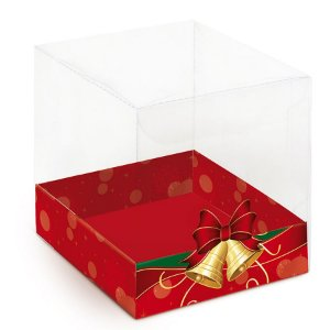 Caixa para Panetone 500g G 14,4x14,4x12cm Sinos Natalinos - 10 unidades - Cromus Natal - Rizzo Embalagens